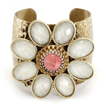 Retro White & Pink Flower Cuff Bracelet OL_BR112 - Sweet Romance Wholesale