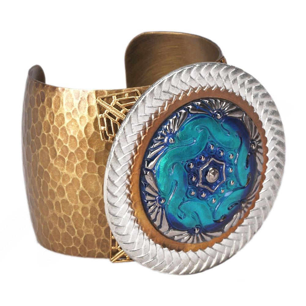 Blue Lumina Glass Disk Cuff Bracelet - ONLY 2 LEFT!