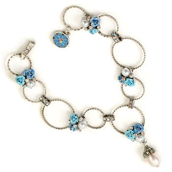 Roses & Circle Link Bracelet - Sweet Romance Wholesale