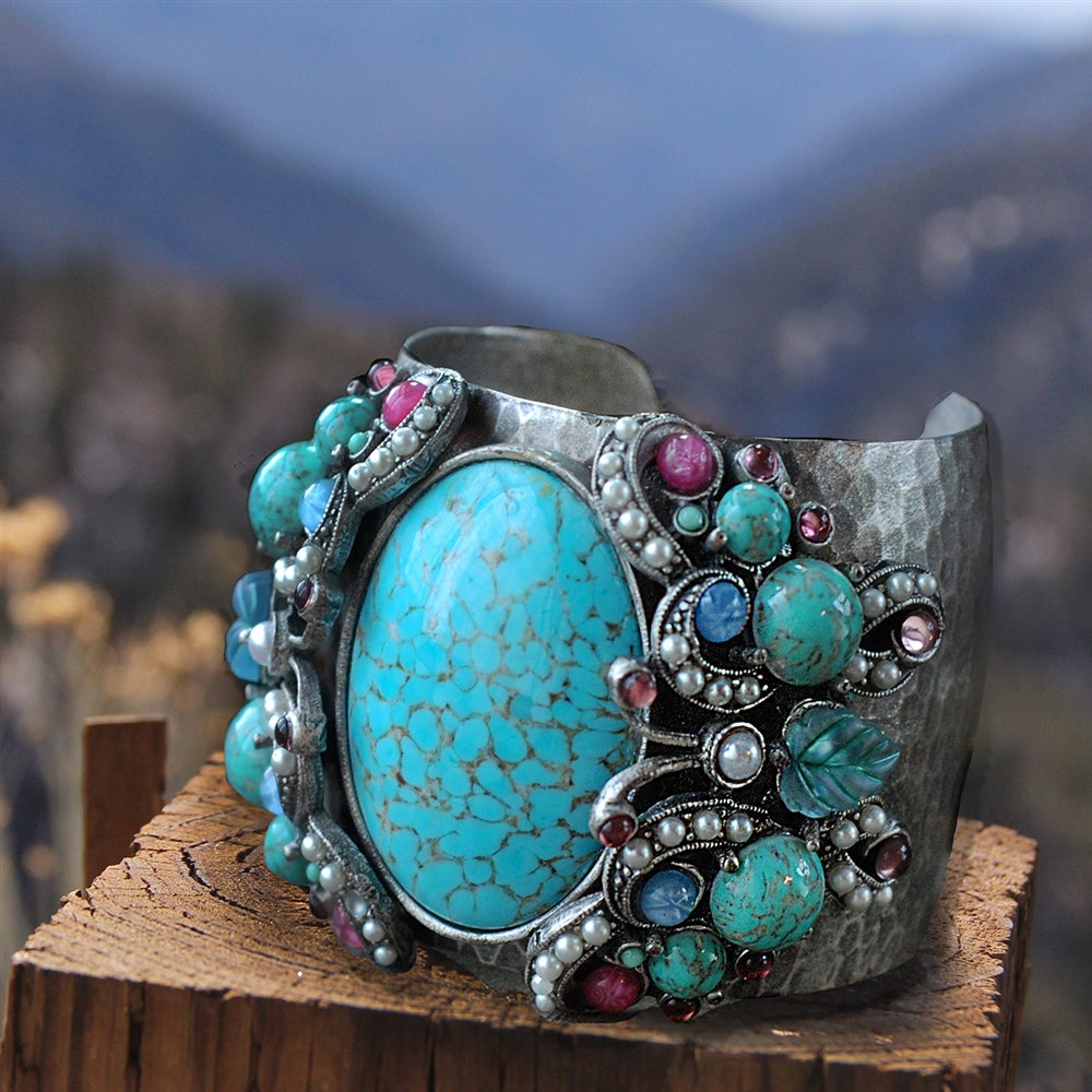 Tang Gemstone Butterfly Cuff Bracelet - Sweet Romance Wholesale