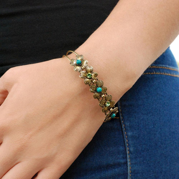 Dogwood Blossom Turquoise Bangle Bracelet OL_BR347 - Sweet Romance Wholesale