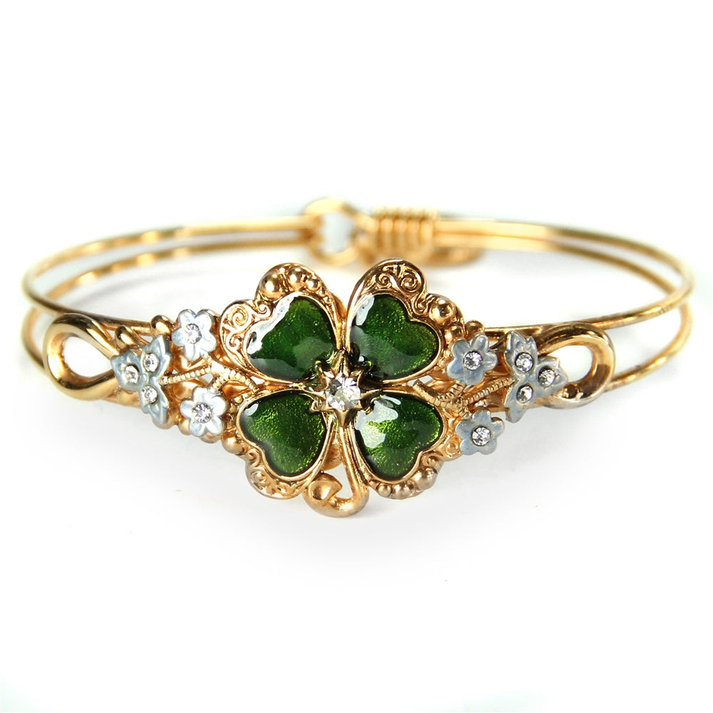Lucky Clover Enamel Bangle Bracelet BR350 - Sweet Romance Wholesale