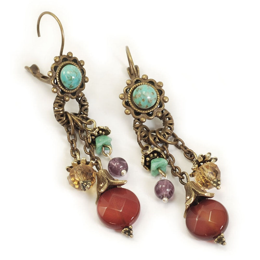 Tuquoise & Goldstone Gem Flutter Earrings E209 - Sweet Romance Wholesale