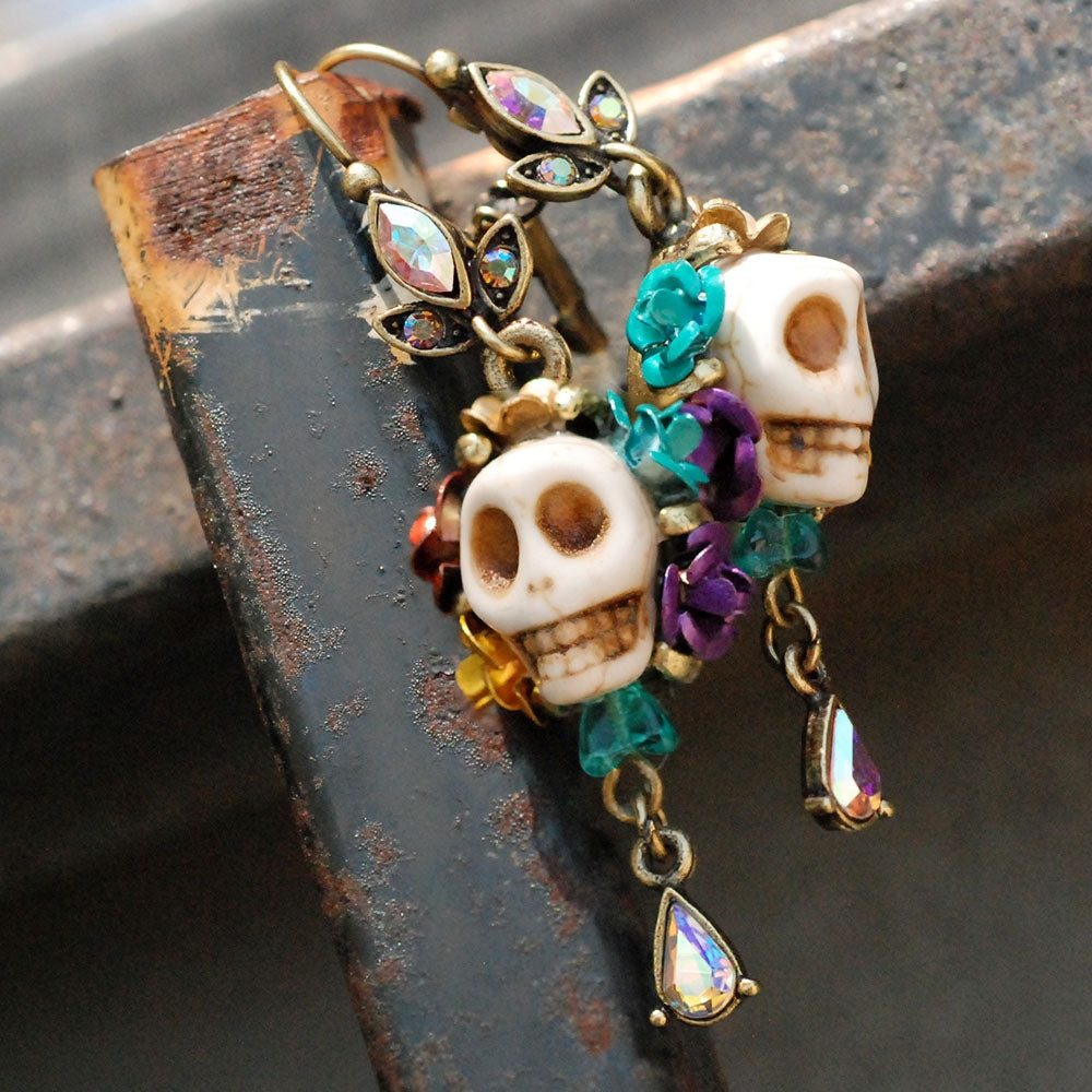 Skull and Crystal Teardrop Earrings E241