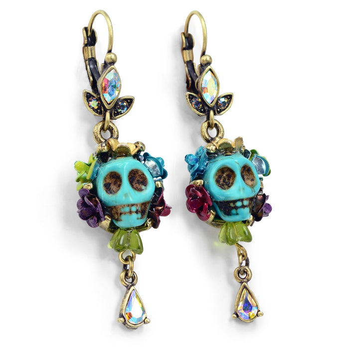 Skull and Crystal Teardrop Earrings E241 - Sweet Romance Wholesale