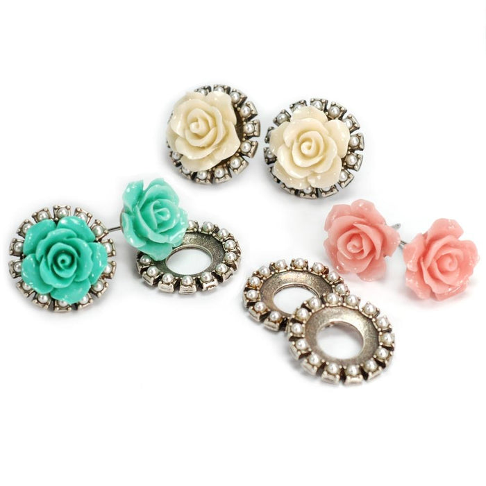 Rose & Crystal Jacket Earrings OL_E300 - Sweet Romance Wholesale
