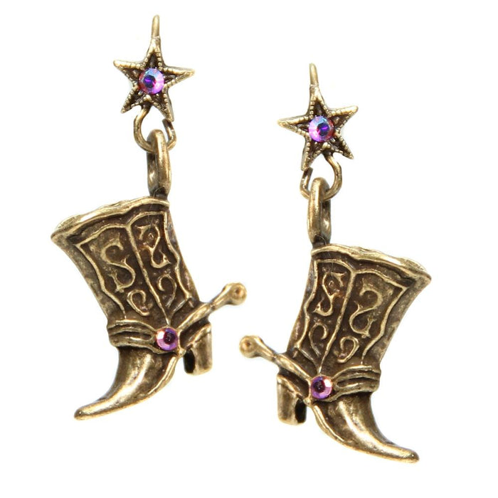 Cowgirl Boot Earrings E319 - BZ - Bronze