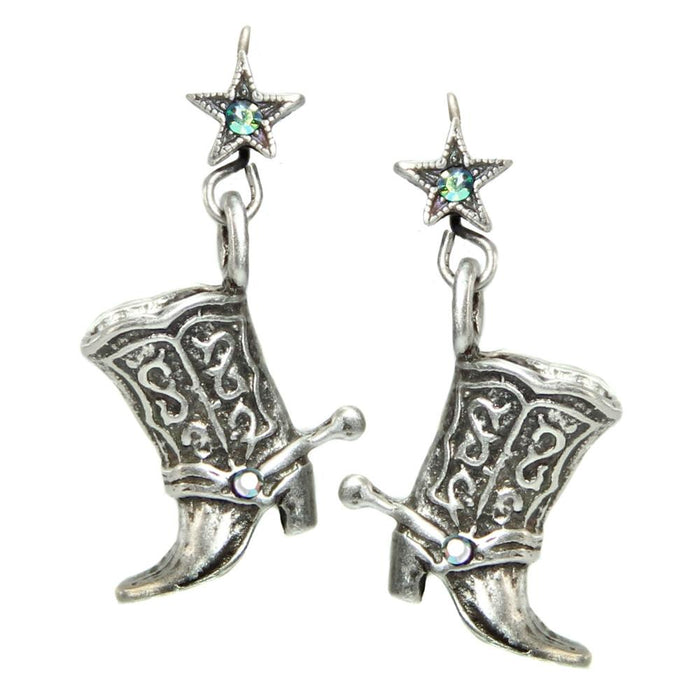 Cowgirl Boot Earrings E319 - SIL - Silver
