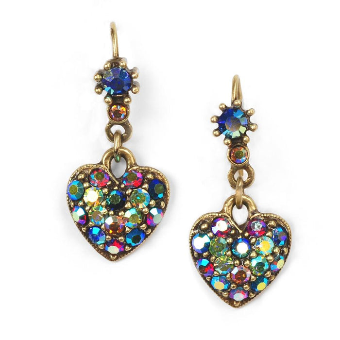Crystal Hearts Earrings E337 - MU - Multi