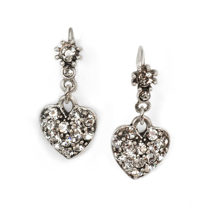 Crystal Hearts Earrings E337 - SIL - Silver