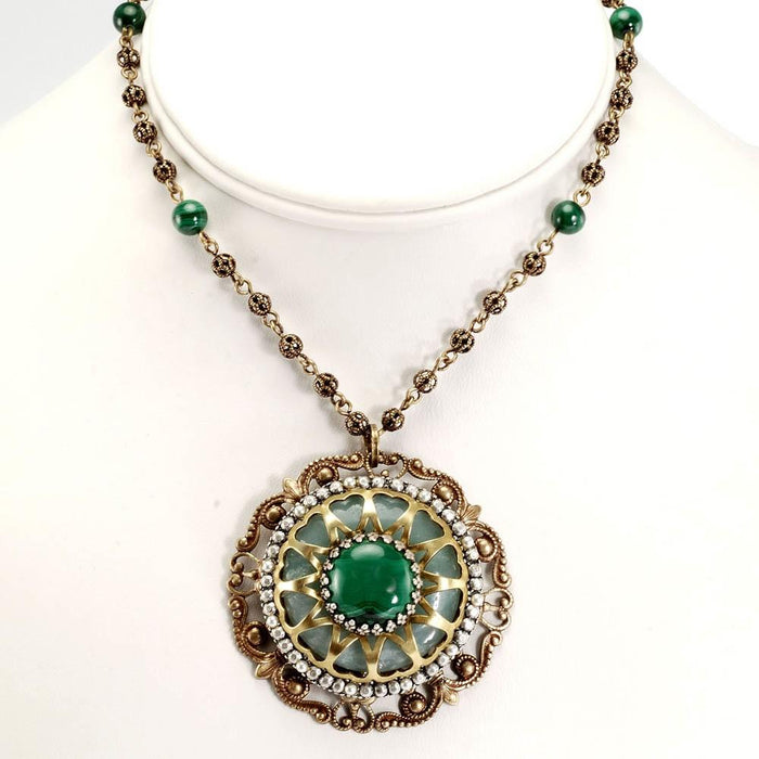 Blue Agate & Malachite Necklace OL_N153 - Sweet Romance Wholesale