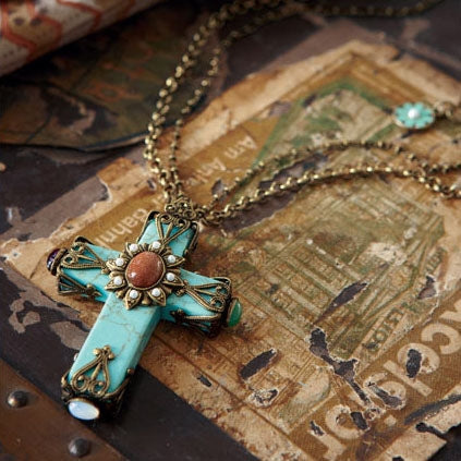 Cathedral Turquoise Cross Necklace OL_N190 - Sweet Romance Wholesale