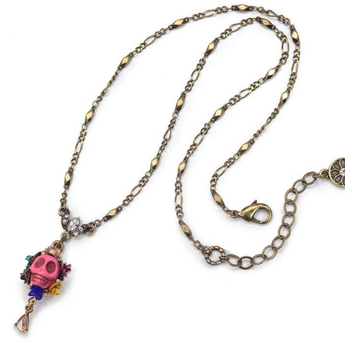 Skull and Crystal Teardrop Necklace N241-PK