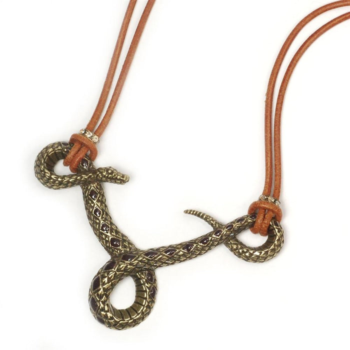 Rattlesnake on Leather Necklace OL_N285 - Sweet Romance Wholesale