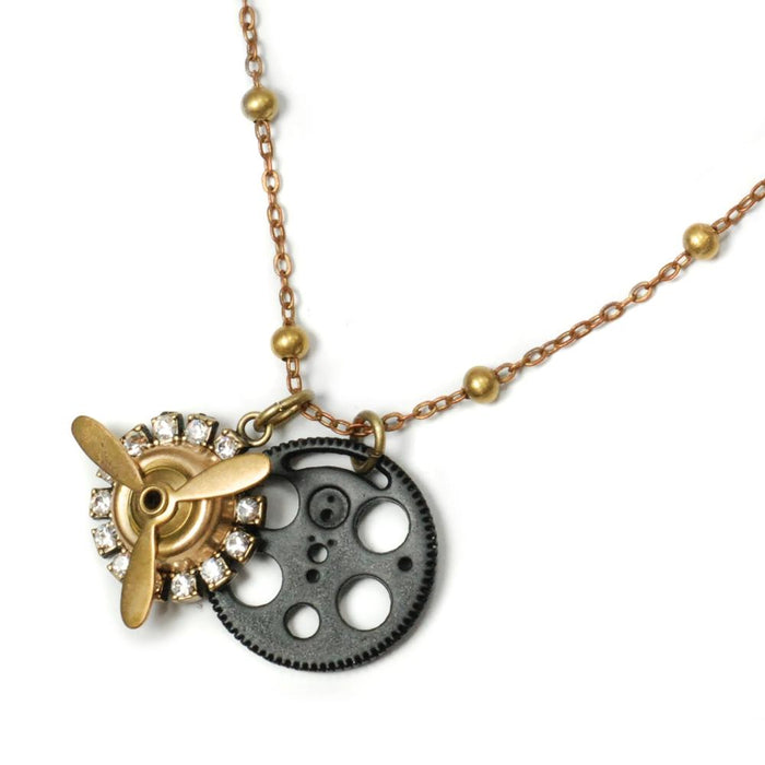 Airplane Propeller and Gear Steampunk Charm Necklace N318