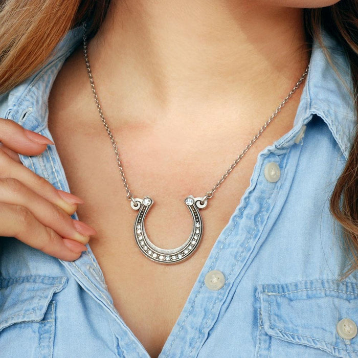 Get Lucky Horseshoe on Chain Necklace OL_N394 - Sweet Romance Wholesale