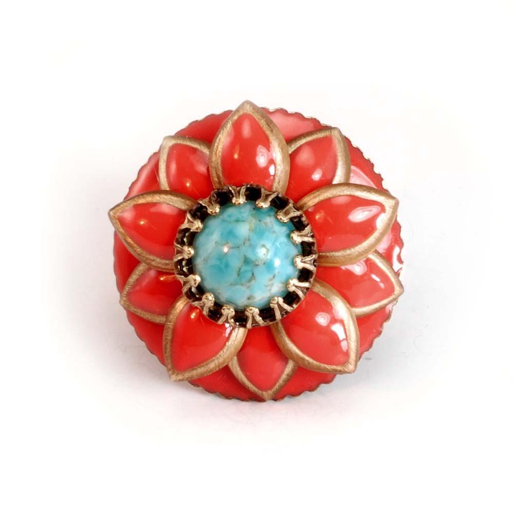 Coral and Turquoise Starflower Ring