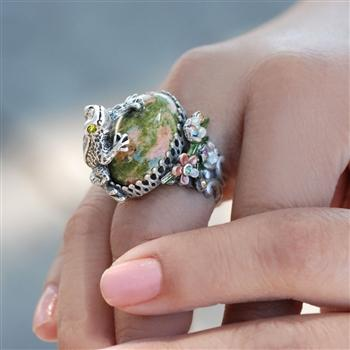 Silver Sculpture Frog Ring OL_R228 - Sweet Romance Wholesale