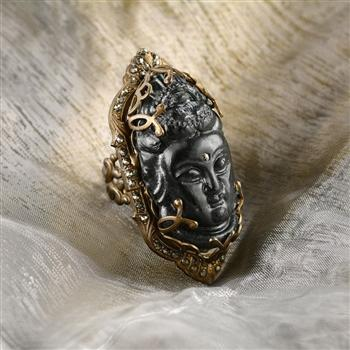 Art Deco Hand Carved Black Buddha GuanYin Marcasite Ring