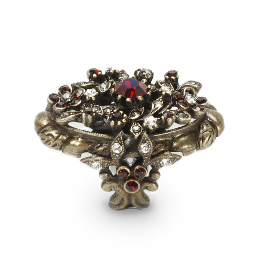 Victorian Garnet Crystal Ring - Sweet Romance Wholesale