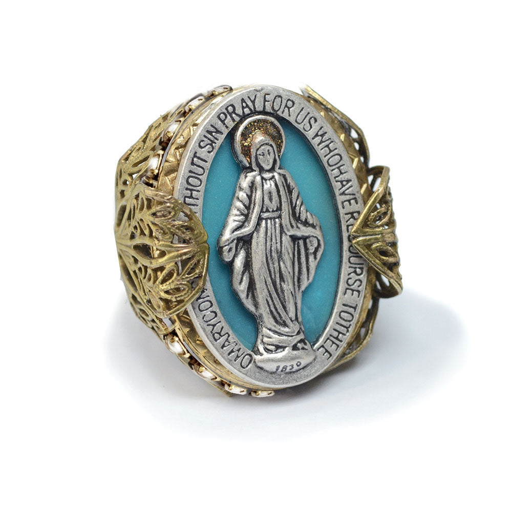 Queen of Miracles Our Lady Virgin Mary Madonna Ring - Sweet Romance Wholesale