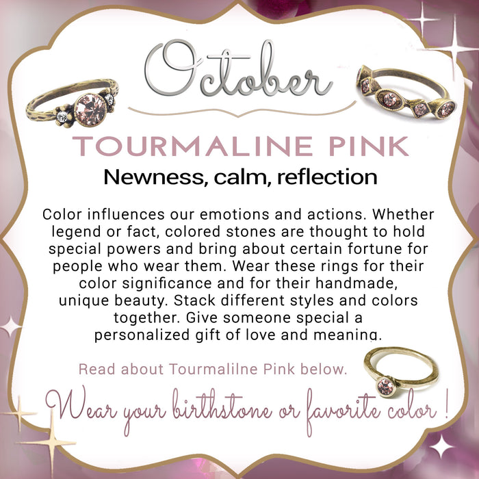 Stackable October Birthstone Ring - Tourmaline Pink - Sweet Romance Wholesale