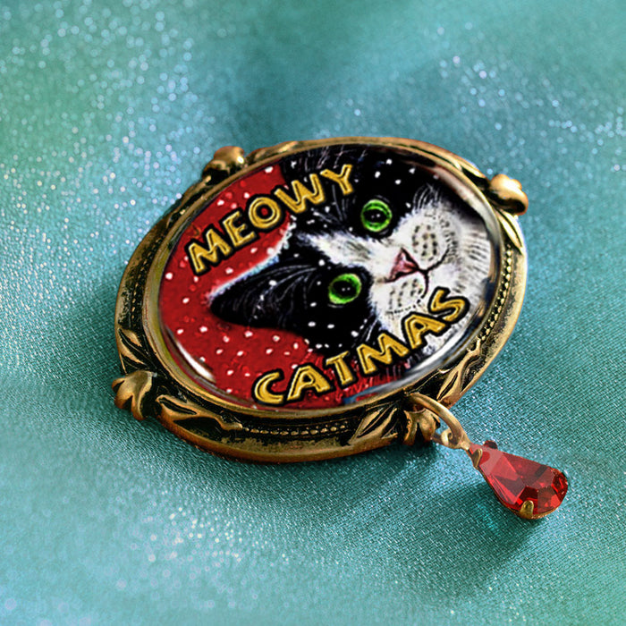 NEW! Meowy Catmas Christmas Cat Pin P351 - Sweet Romance Wholesale