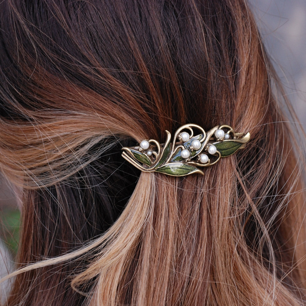 Lily of the Valley Hair Barrette B533 - Sweet Romance Wholesale