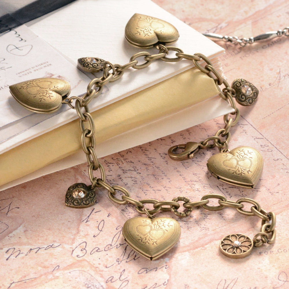 Heart Locket Charm Bracelet BR0214 - Sweet Romance Wholesale