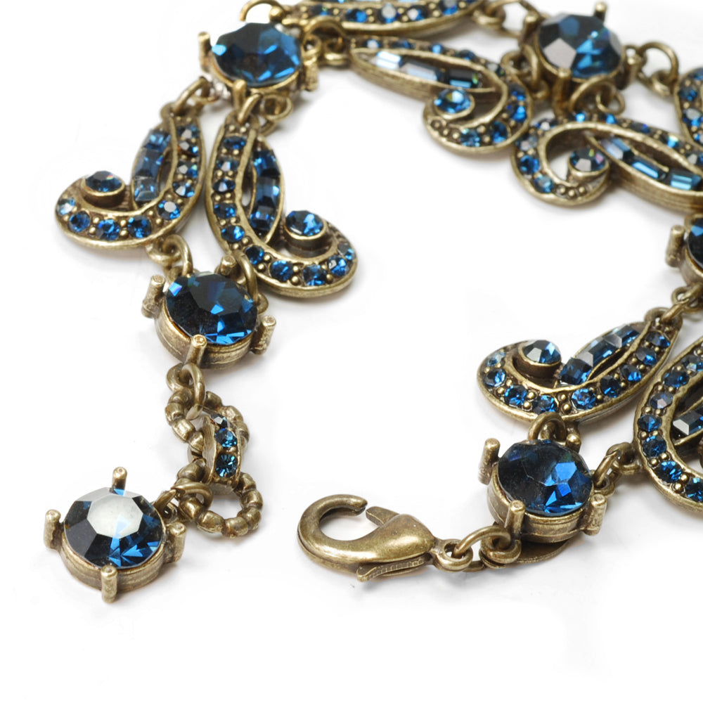 Art Deco Vintage Hollywood Blue Crystal Bracelet BR1102 - Sweet Romance Wholesale