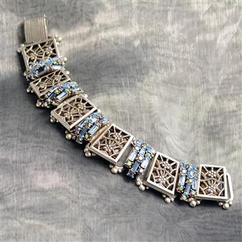 Art Deco Filigree Link Crystal Vintage Bracelet BR1137 - Sweet Romance Wholesale