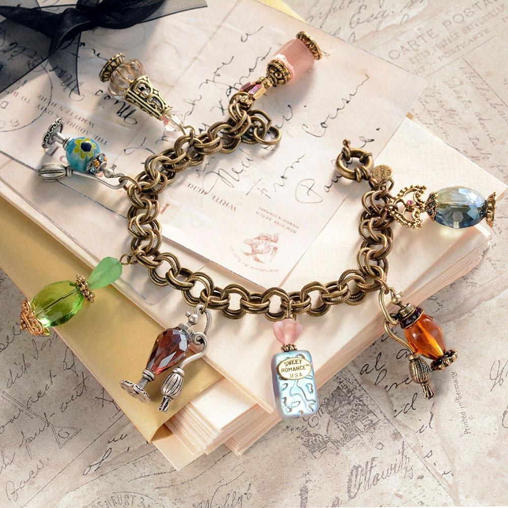 Perfume Bottle Charm Bracelet BR114 - Sweet Romance Wholesale