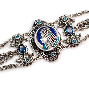 Art Deco Egyptian Goddess Vintage Silver Bracelet BR1209 - Sweet Romance Wholesale