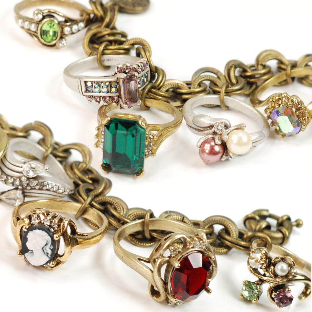Antique Style Rings Charm Bracelet BR122 - Sweet Romance Wholesale