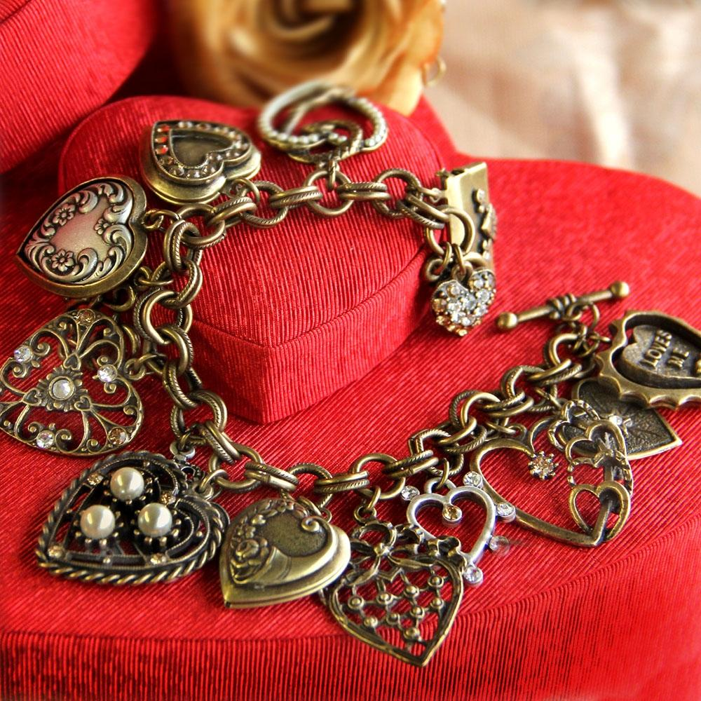 All My Love - Heart Charm & Locket Bracelet BR214 - Sweet Romance Wholesale