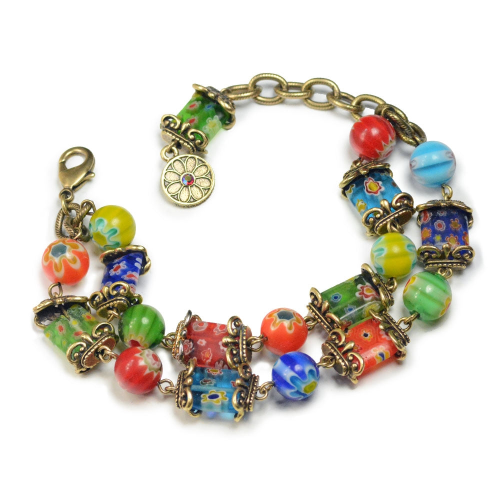 Millefiori Glass Rainbow Two Strand Bracelet - Sweet Romance Wholesale
