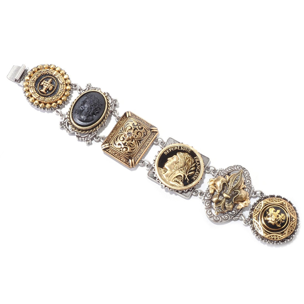 French Bronze & Silver Links Bracelet - Sweet Romance Wholesale