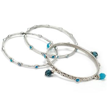 Set of 3 Crystal Bangle Bracelets - Sweet Romance Wholesale
