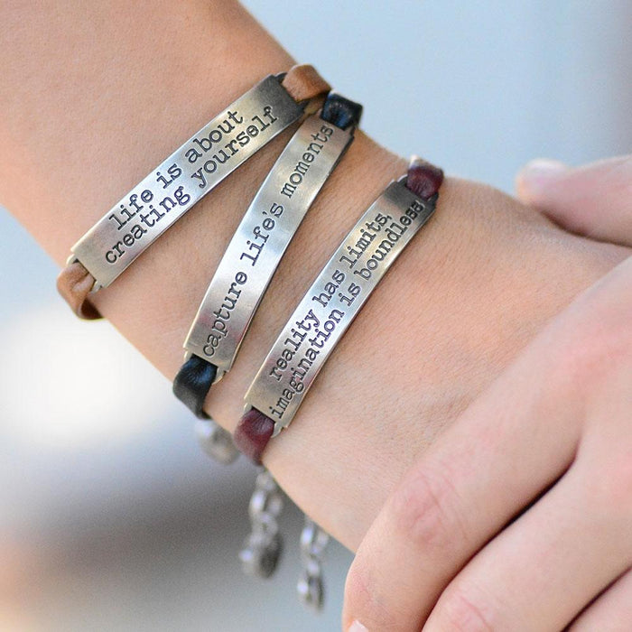 Inspirational Message Leather Bracelets - Sweet Romance Wholesale