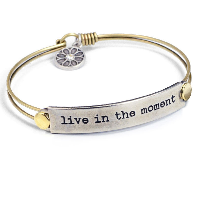 Live In The Moment Inspirational Message Bracelet BR416 - Sweet Romance Wholesale