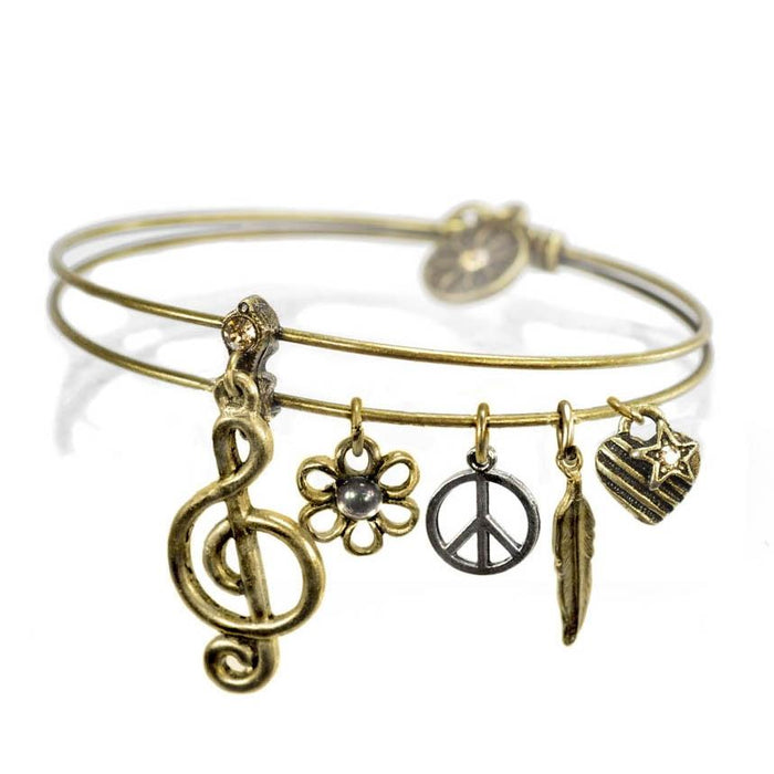 Melody Music Note Bangle - Sweet Romance Wholesale