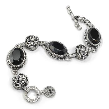 Jet Jewel & Hematite Bracelet - Sweet Romance Wholesale