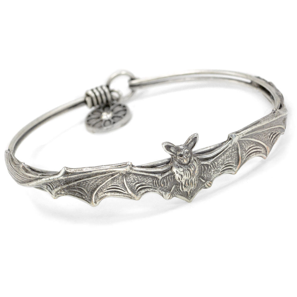 Silver Bat Bangle Bracelet BR477-SIL - Sweet Romance Wholesale