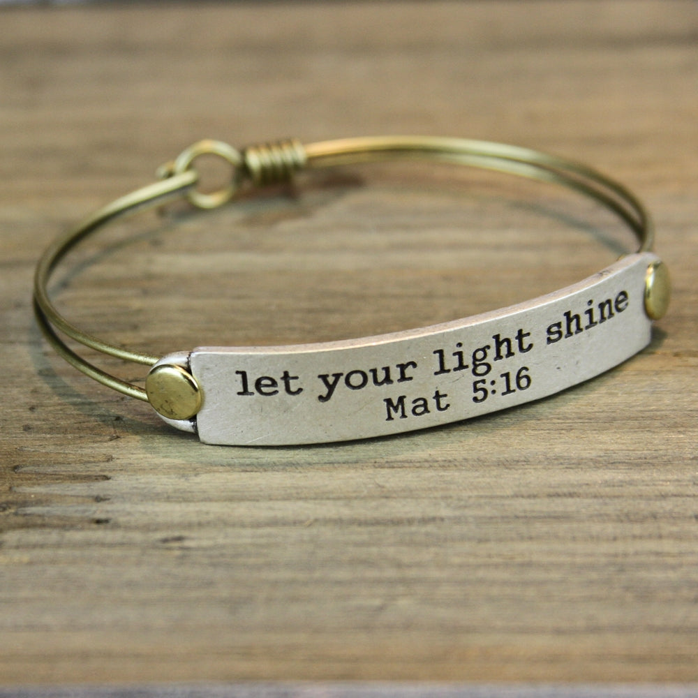 Let Your Light Shine Mat 5:16 Inspirational Bible Verse Bracelet
