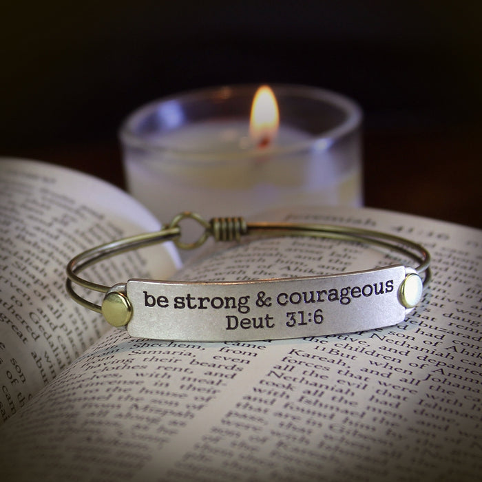Be Strong and Courageous Deut 31:6 Inspirational Bible Verse Bracelet - Sweet Romance Wholesale