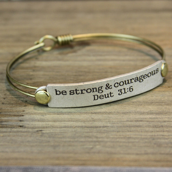 Be Strong and Courageous Deut 31:6 Inspirational Bible Verse Bracelet