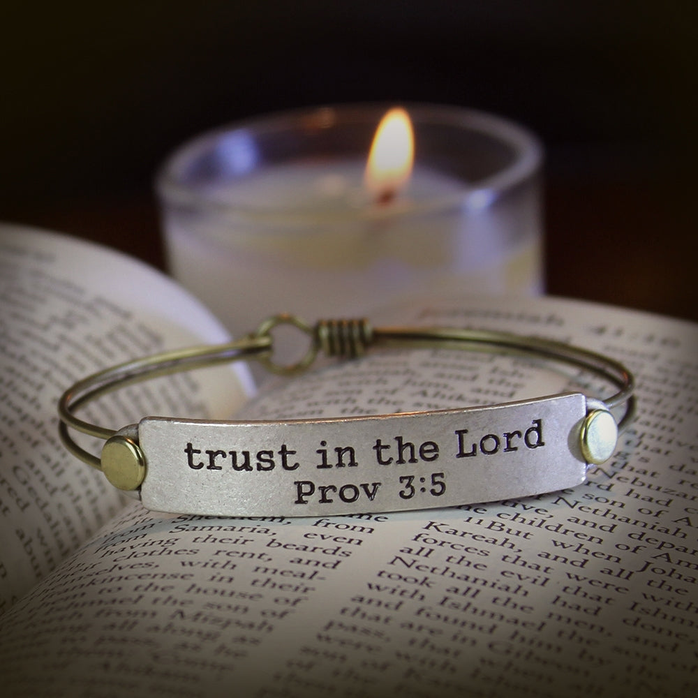 Trust in the Lord Prov 3:5 Inspirational Bible Verse Bracelet