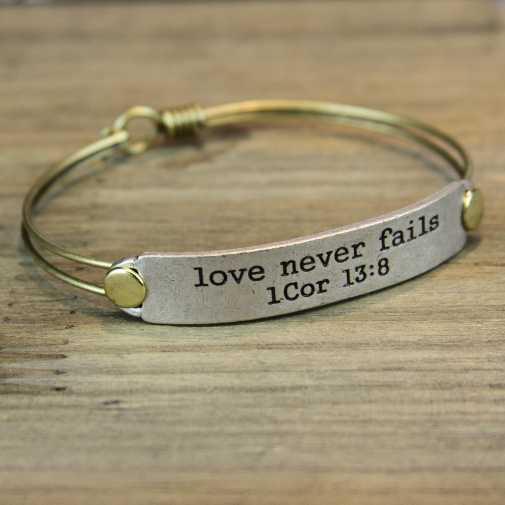 Love Never Fails 1 Cor 13:8 Inspirational Bible Verse Bracelet - Sweet Romance Wholesale