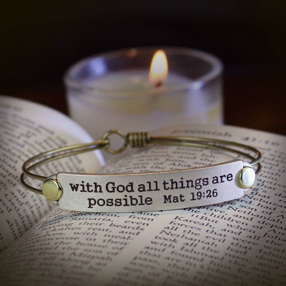 With God All Things are Possible Mat 19:26 Inspirational Bible Verse Bracelet