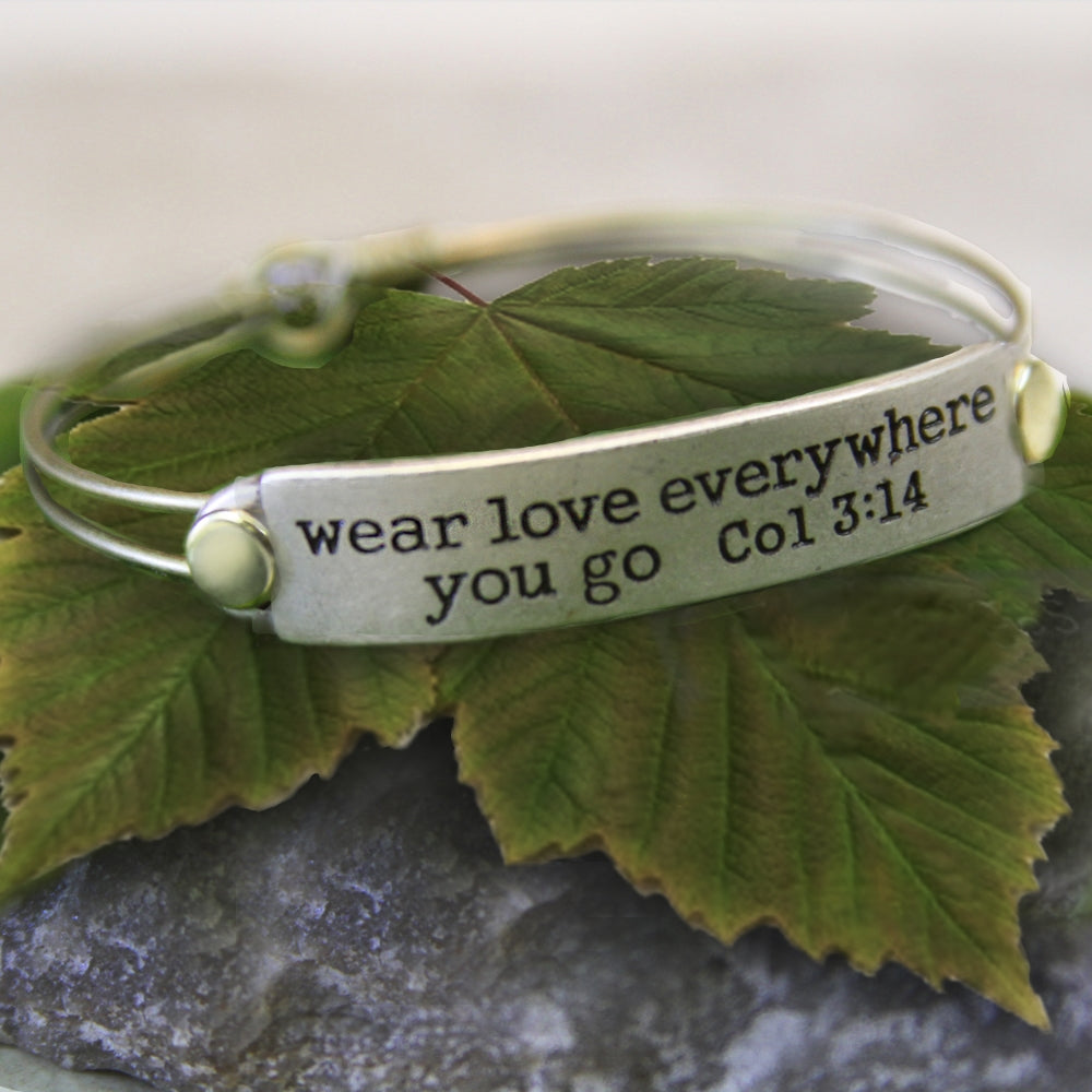 Wear Love Everywhere You Go Col 3:14 Inspirational Bible Verse Bracelet